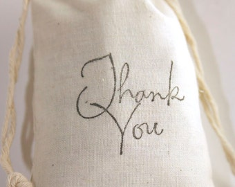 10 Thank You Favor Bags, 3x5 Muslin Drawstring Gift Bags for Weddings, Graduation, Birthday, Bridal Shower, Baby Shower, Christmas Gift Bag