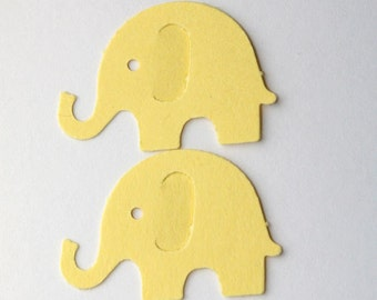 50 Yellow Elephant Confetti, Die Cut Elephants, Birthday Party Supplies, Gender Neutral Baby Shower, Confetti, Scrapbook, Paper, Yellow