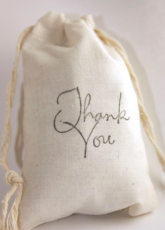10 Thank You Favor Bags 3x5 Muslin Drawstring Gift Bags for