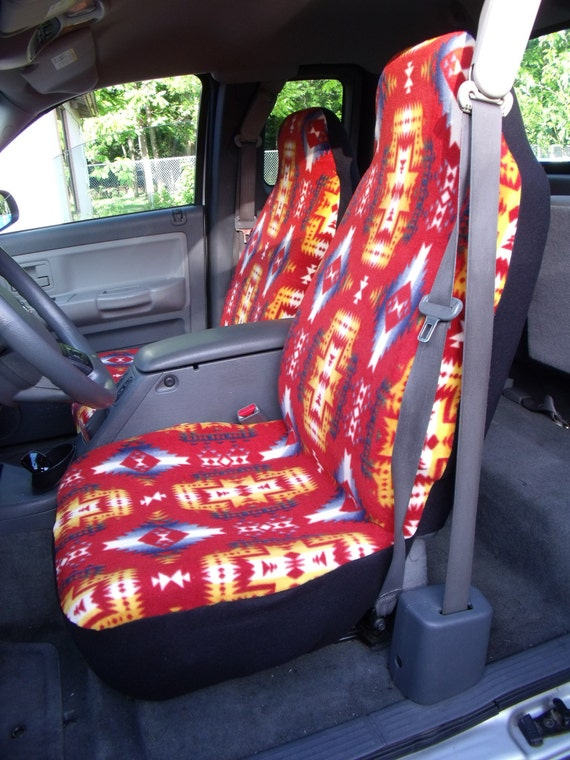 1 Set Of Canyon Red Native Print Custom Made Car Seat Covers