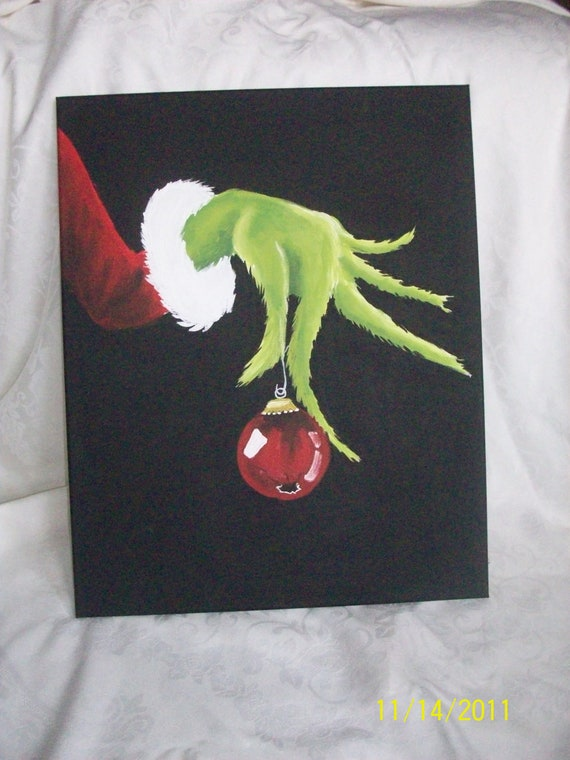 items similar to the grinch hand painted canvas 16x20 on etsy. Black Bedroom Furniture Sets. Home Design Ideas