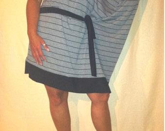 One Sleeve Gray with Black Stripes Dress - Sz Lg  B0021