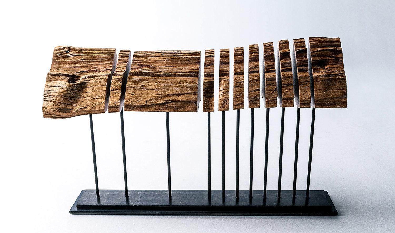 Reclaimed wood sculpture on steel armature