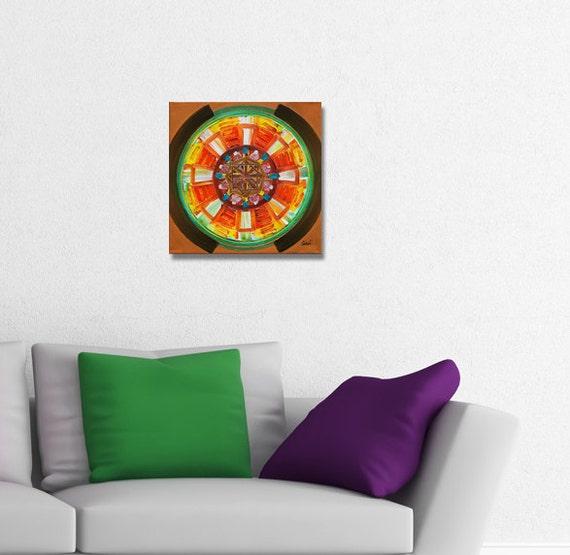 ORIGINAL mandala painting, spiritual art, meditation art, mandala art, orange