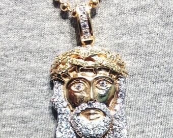 14kt Gold Mini Jesus Head Pendant w/ Ball Chain