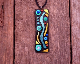 Original one of a kind Mosaic Style Dichroic Fused Glass Necklace