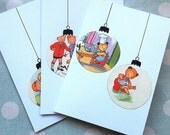 Bauble Christmas cards - vintage children's books - Sooty set of three