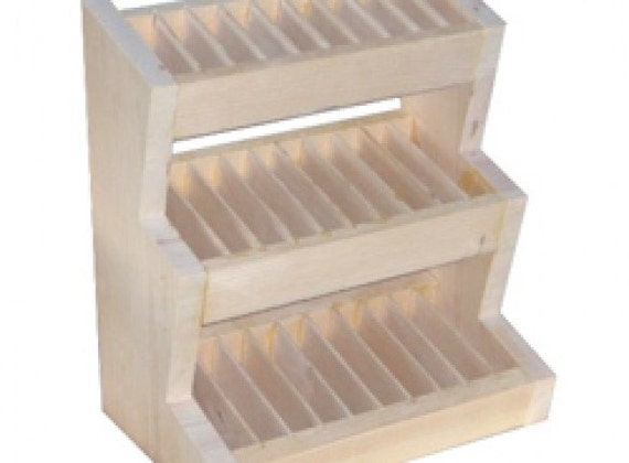 3 Tief Slotted Wooden Display Rack For Lip Balm Solid Perfume