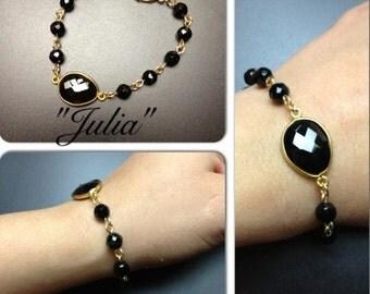 Julia - faceted black onyx linked bracelet with black onyx bezel set connector