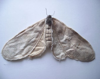 SOLD OUT Moth/ sculpture/recycled textiles, antique look.