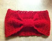 Crochet Bow Tie Style Headband Ear Warmer