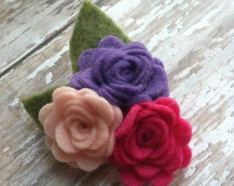 Purple, Hot Pink, and Light Pink Triple Rose Flower Hair Clip