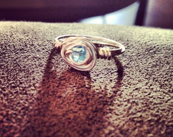 """The """"signature spiral"""" Ring with Swarovski crystal bead"""