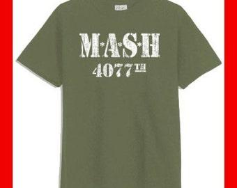 MASH 4077th Distressed Military Green T-Shirt