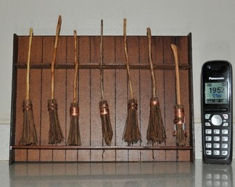 1:12th scale Harry Potter 7 standard broomsticks in their own stand