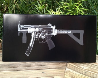 MP5k Submachine  gun CAT scan gun print - ready to frame