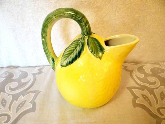 Vintage Lemon Pitcher Lemon Yellow Pitcher Italian Pottery