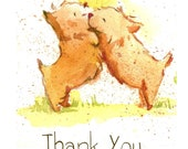 Two Dogs Thank You Cards (set of 5 A2 greeting cards)