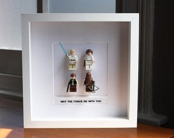 Star Wars Framed Mini Figures 'Millennium Falcon' made from Lego