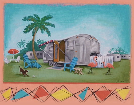 Mid Century Modern Eames Retro Limited Edition Print from Original Painting Airstream Flamingos