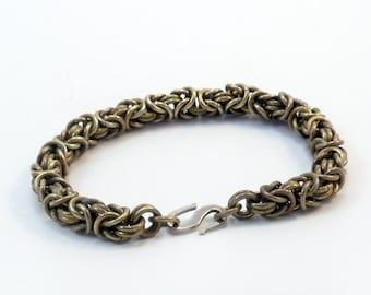 Brass Bracelet - Byzantine Weave