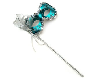 Angelina Teal Women's Masquerade Mask on a stick - B-0123T-S