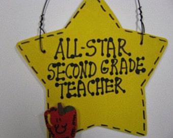 Teacher Gifts Yellow Star w/Apple All Star Second Grade Teacher