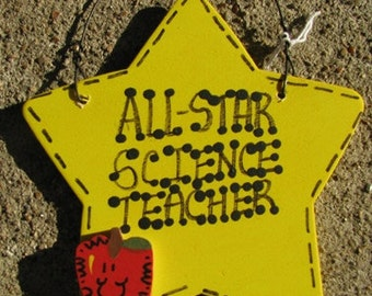 Teacher Gifts Yellow Star w/Apple All Star Science Teacher