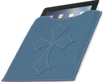 Leather iPad Cover - Blue Flared Cross