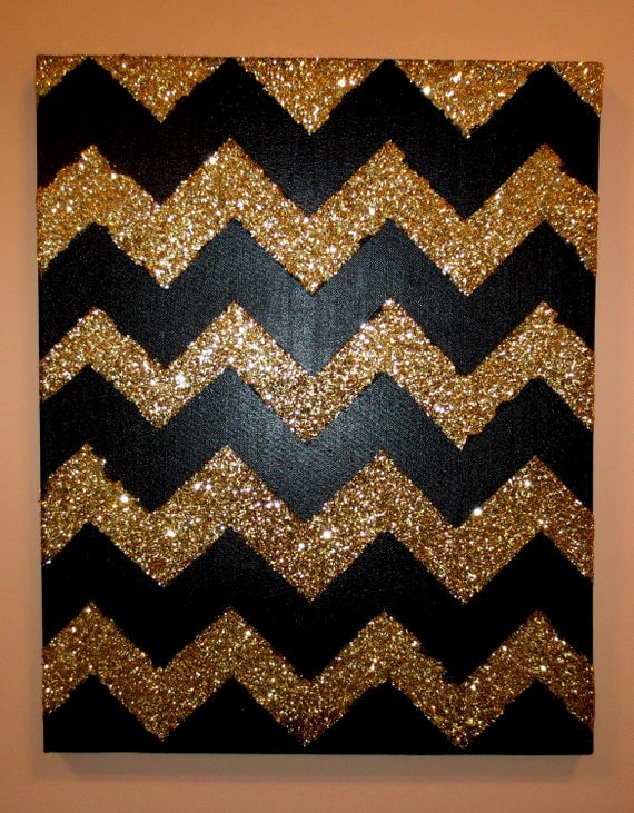 Items similar to Black and Gold Glitter