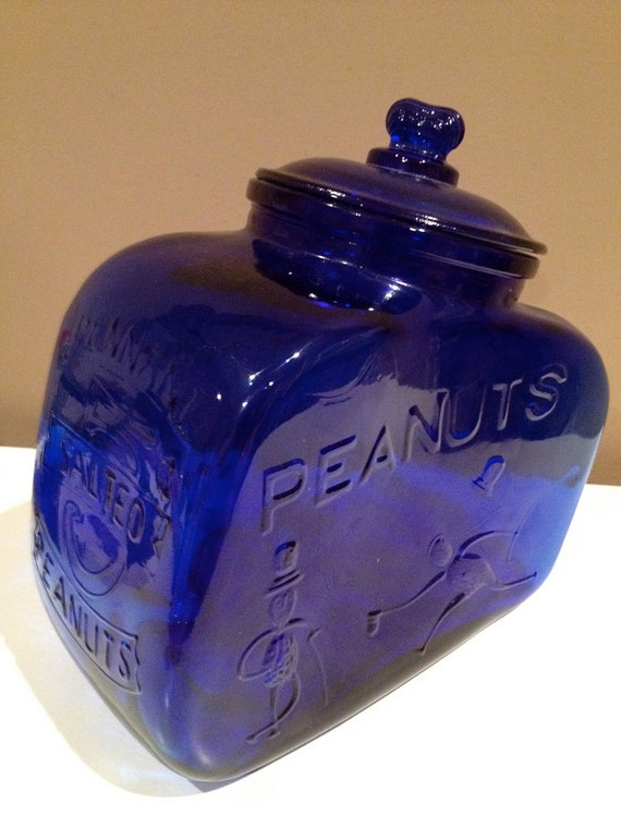 PLANTERS PEANUT cobalt blue glass Pennant salted peanut cookie jar