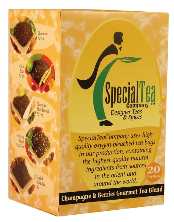 Champagne & Berries Organic Gourmet Green Tea x 20 Tea Bags Bonus Free Samples