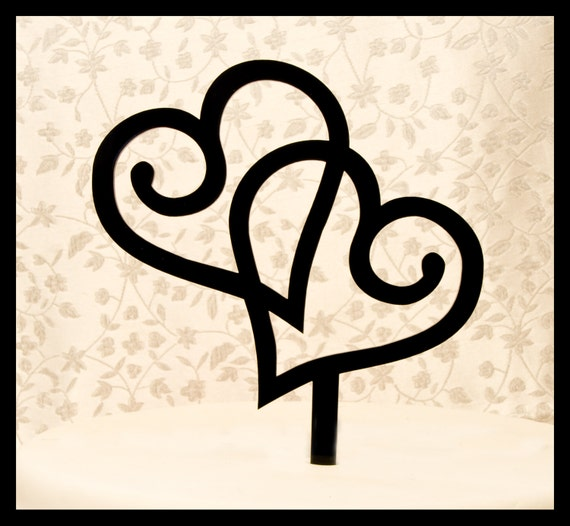 double heart wedding cake topper two hearts wedding cake. Black Bedroom Furniture Sets. Home Design Ideas