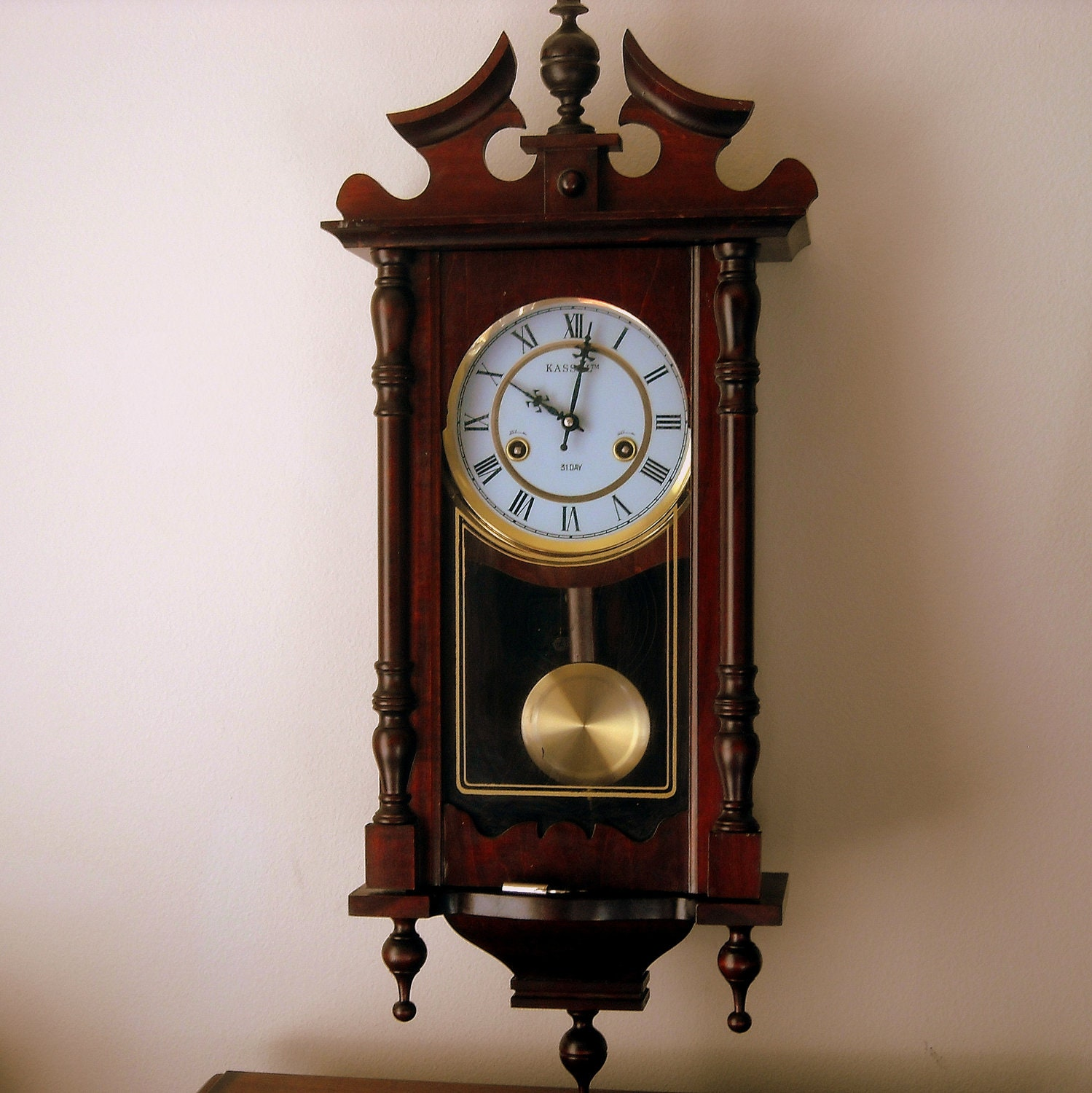 vintage kassel 31 day grandfather wall clock w chimes