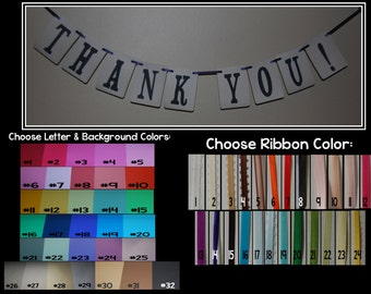 Handmade THANK YOU sign- Choose your Colors- Wedding banner pennant decoration, Cardstock & Ribbon