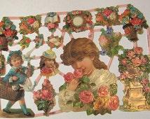 New German Victorian children urn basket pink roses bouquets flowers die cuts diecuts scraps embellishments sheet ef 7231 scrapbooking craft