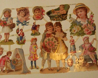 15 Sheets New German Victorian beautiful children babies flowers die cuts scraps embellishments ef 7249 scrapbooking decoupage collage lot