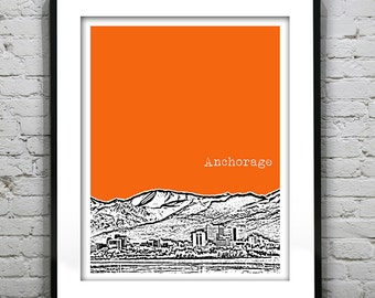 Anchorage Alaska Skyline Poster Art Print