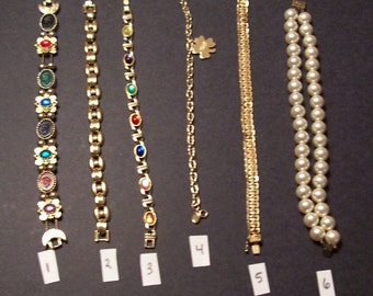 6 Vintage Bracelets Each Sold Separately some marked Avon,Napier,Hopechest