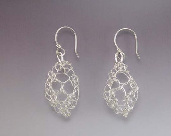 Knit Fine Silver Leaf Lace Earrings Small Bright