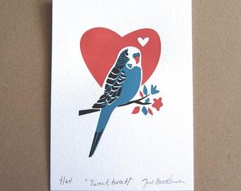 Wall Art, Wall Decor, Budgie art Print, Parakeet Limited Edition Letterpress Art Print, JJD-LP-BL
