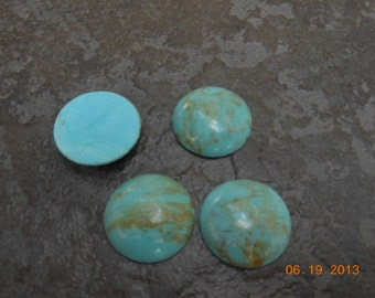 Turquoise Colored Cabochons  -Vintage Glass