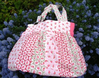 "Floral ""Patchwork"" Cotton Bag lined with dark pink cotton"