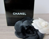 Vintage Chanel Black and White Flower Brooches
