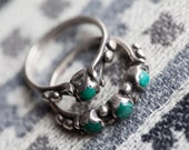 Navajo Vintage Turquoise & Silver Wedding Ring Set (Size 5 1/2 and 6)