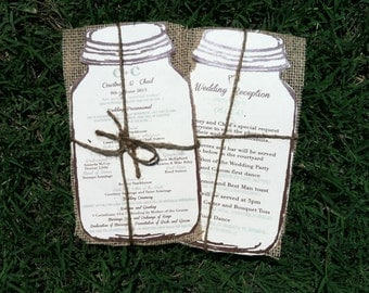 Rustic  wedding programs with burlap - 100