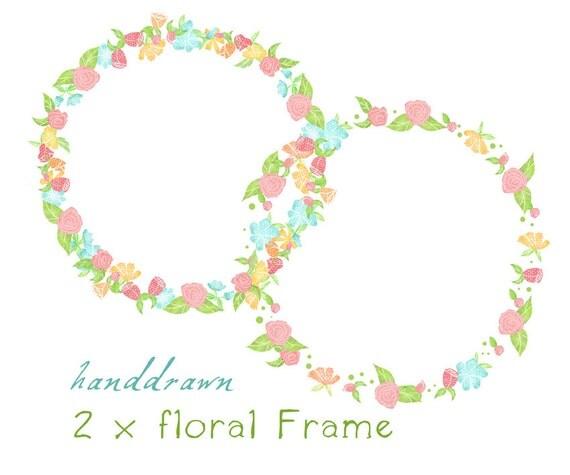 Items similar to Digital Clipart Frames, Floral Frame, 2 ...