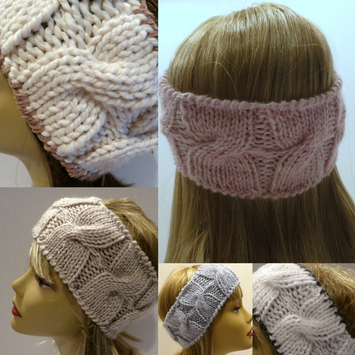 Knitting Pattern Headband Ear Warmer Use Different Yarns from WomanOnTheWater...