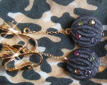NOS black/gold sparkly plastic / rhinestone dangly earrings - really cute NEW vintage