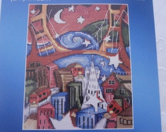"Handmade, Unframed ""San Francisco"" Cross Stitch- California, Abstract, Art Deco, San Francisco, San Francisco Bridge, Stars, Moon"